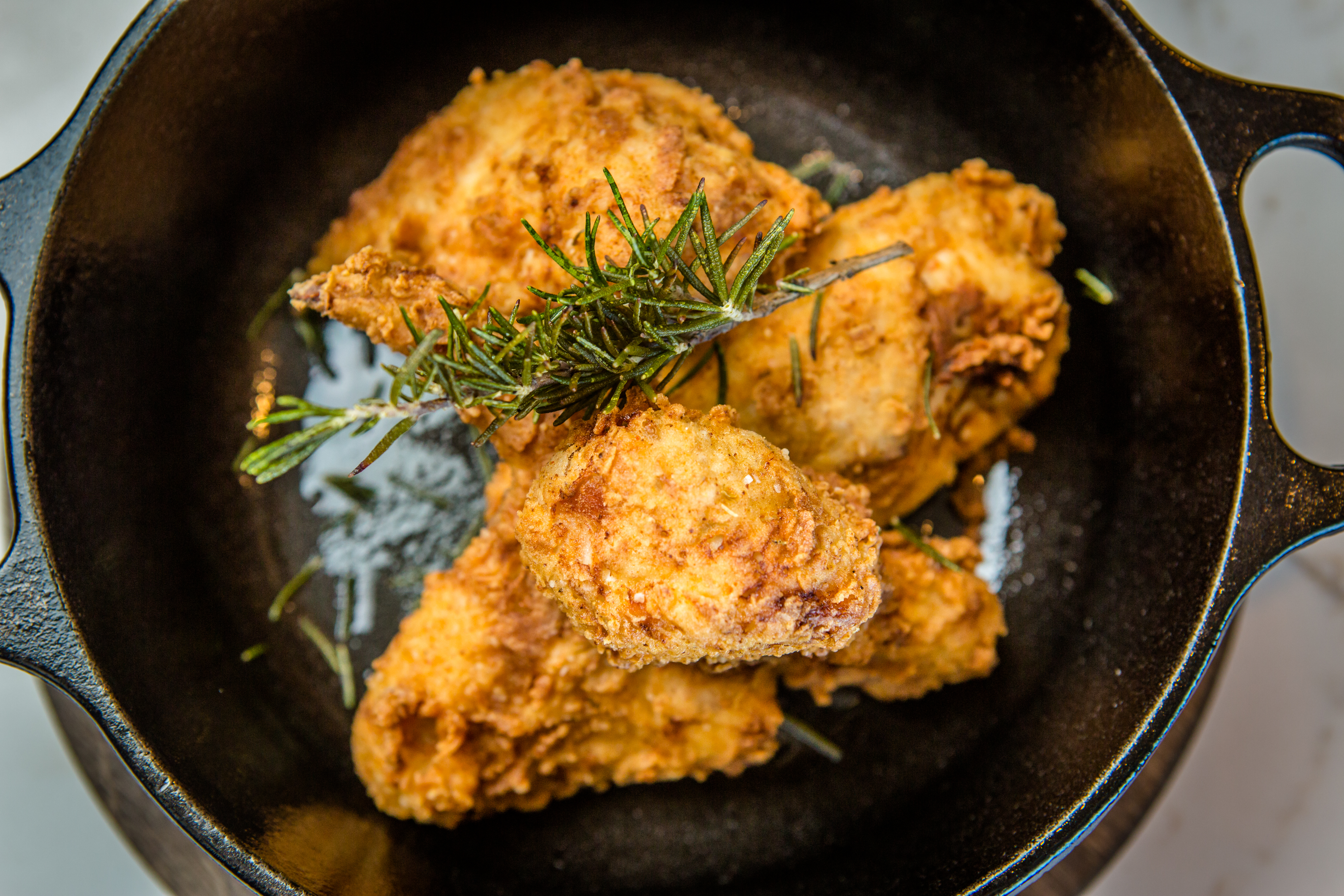 Moss and Oak Fried Chicken, served in a cast iron dutch oven