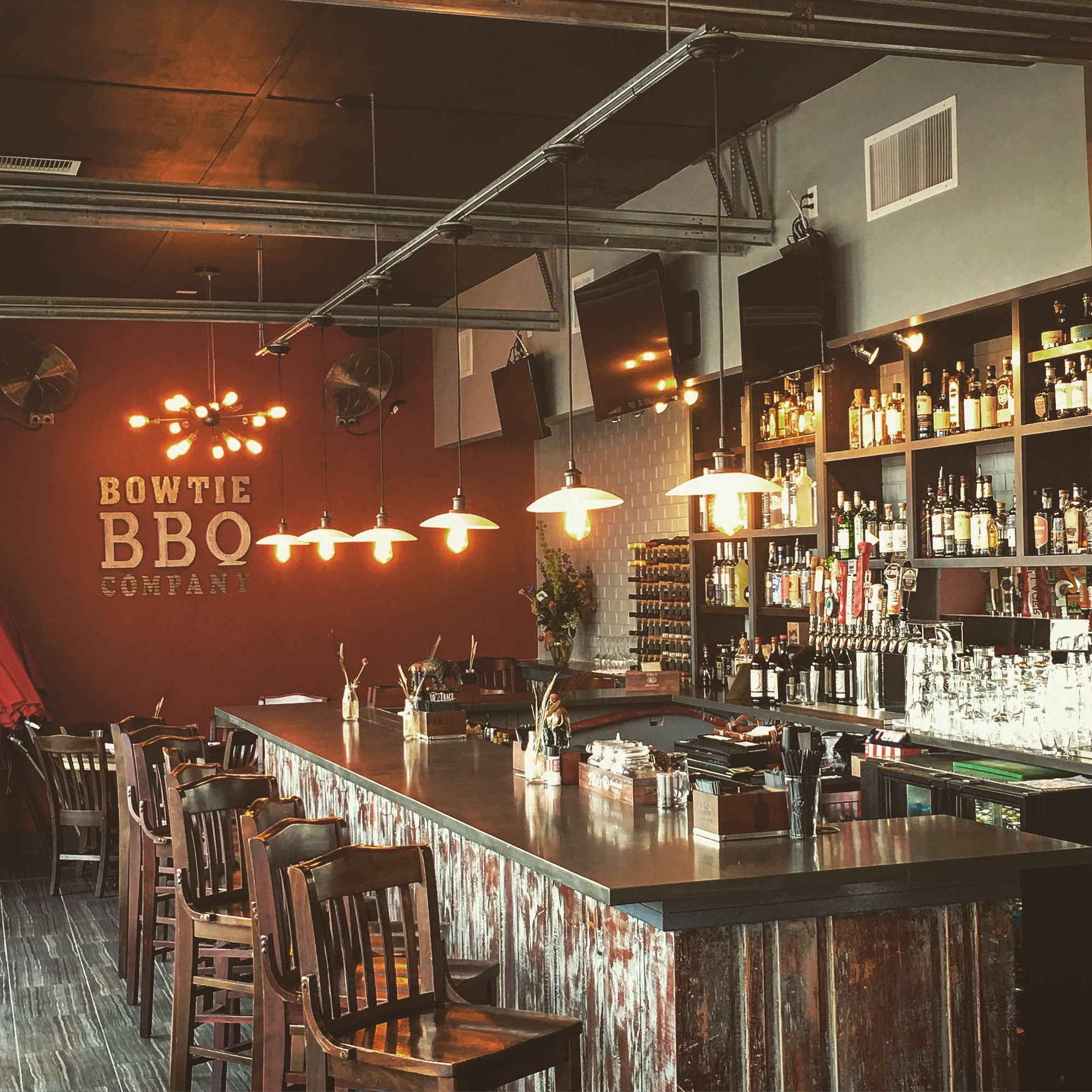 The brand new bar area at Bowtie BBQ Co. sports a massive bourbon collection