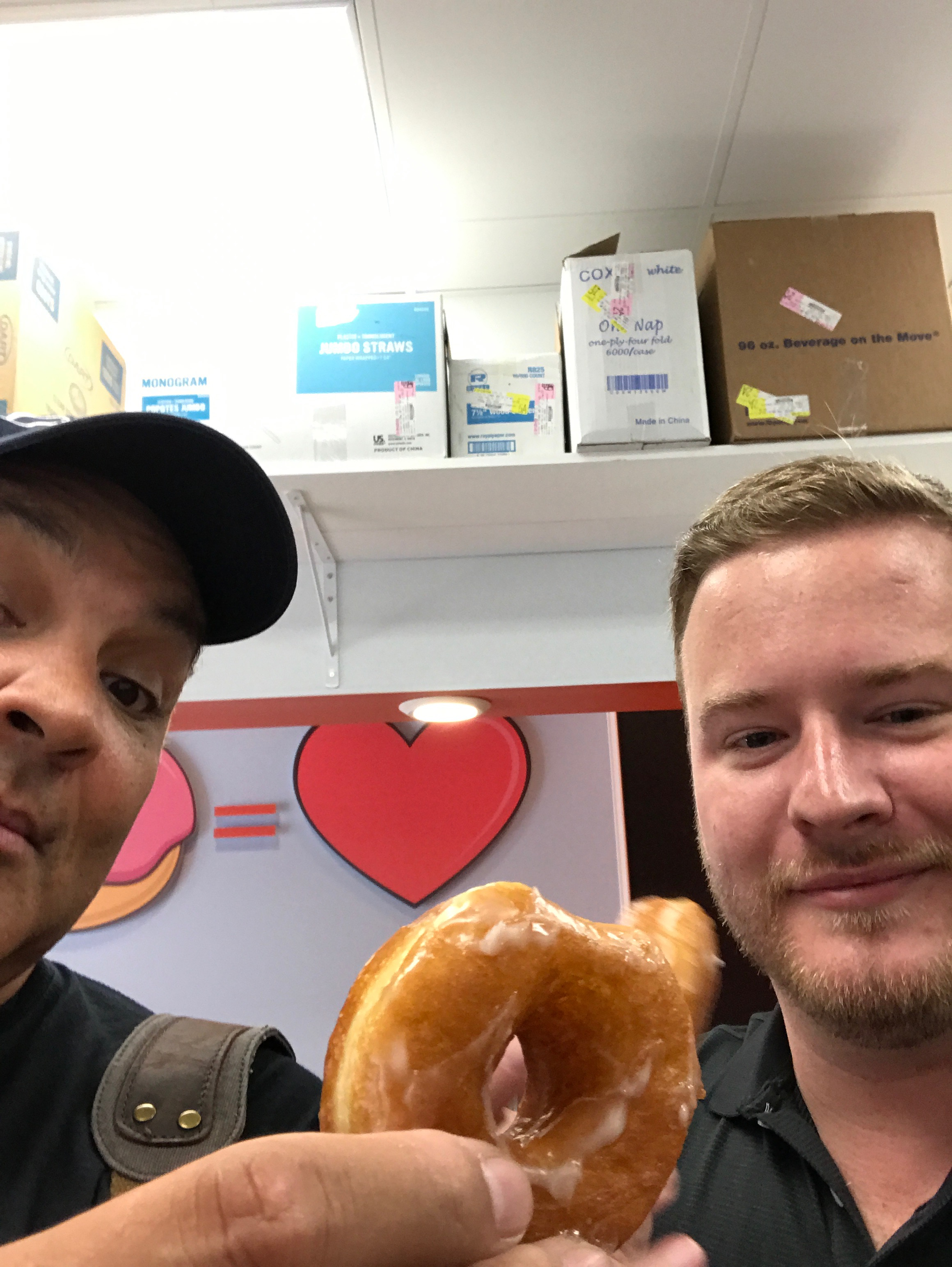 Shane Johnson let Jesse grab the first doughnut made at Rise