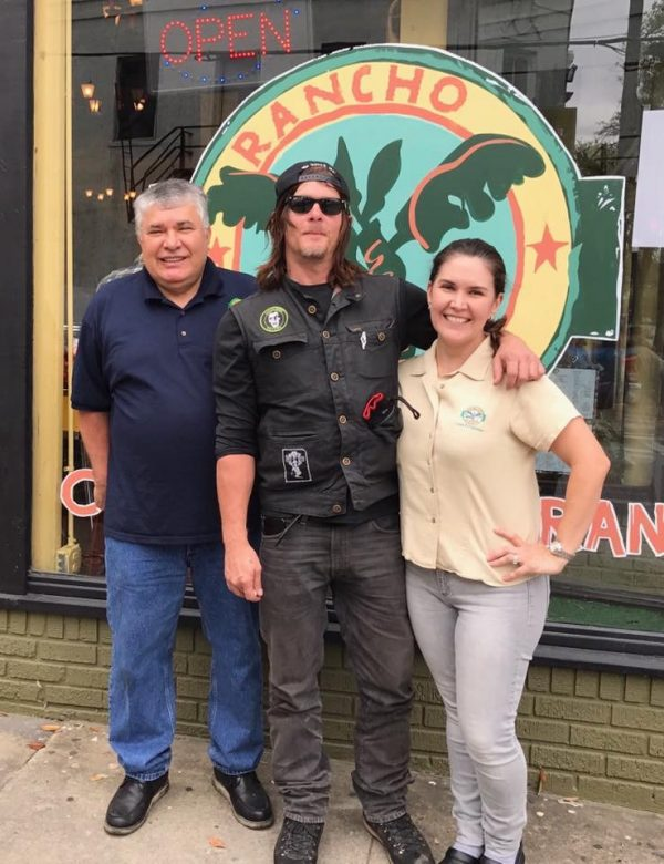 Rancho Alegre owner Juan Rodriguez, his daughter Melody and Norman Reedus