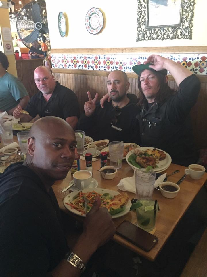 Comedian Dave Chappelle, Reedus and crew enjoying dinner at Rancho Alegre